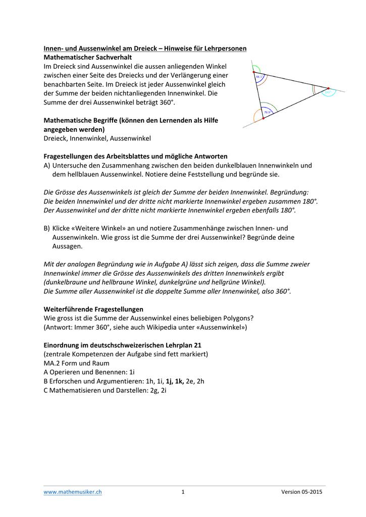 und Aussenwinkel am Dreieck