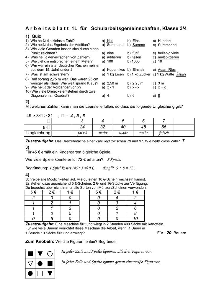 A r b e i t s b l a t t 1L für Schularbeitsgemeinschaften, Klasse 3/4
