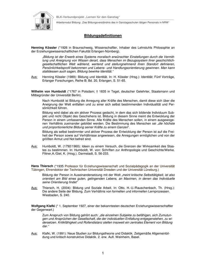 Sammlung Diverser Bildungsdefinitionen Und Zitate
