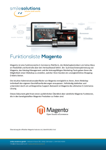 Funktionsliste Magento Deutsch