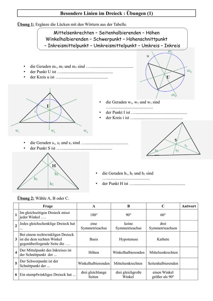 Besondere Linien im Dreieck : Übungen (1)