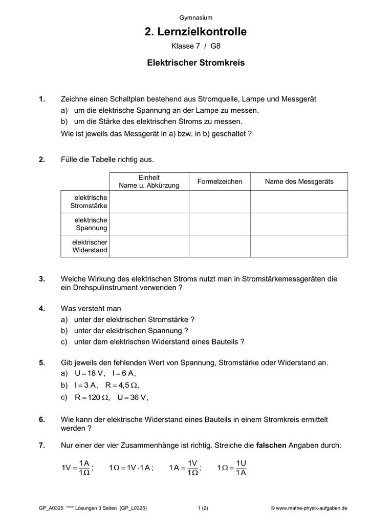 2. Lernzielkontrolle - Mathe-Physik
