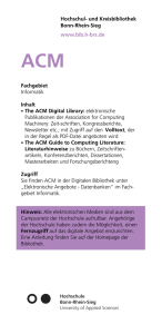 Fachgebiet Informatik Inhalt • The ACM Digital Library: elektronische