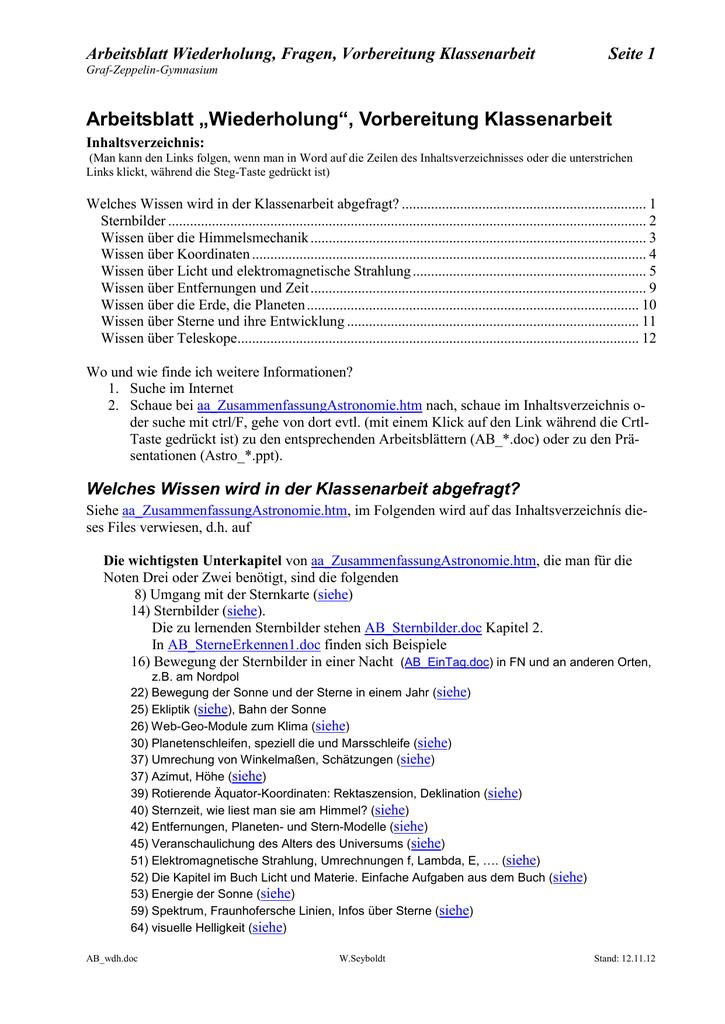 "Arbeitsblatt ""Wiederholung"", Vorbereitung Klassenarbeit"