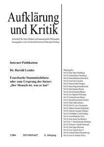 Internet-Publikation Dr. Harald Lemke Feuerbachs Stammtischthese