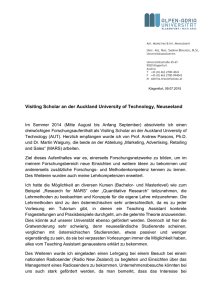 Visiting Scholar an der Auckland University of Technology
