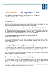 Data Warehouse – The Single Point of Truth