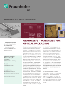 materials for optical packaging