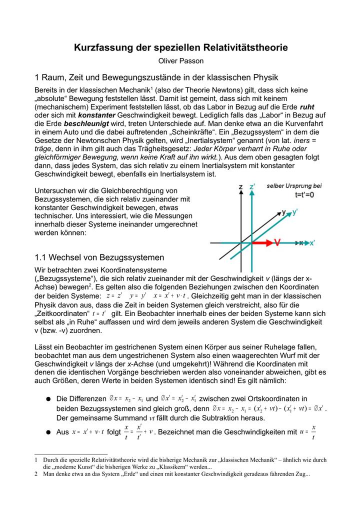 Kurzfassung der speziellen Relativitätstheorie