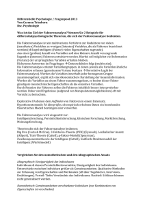 Differentielle Psychologie / Fragenpool 2013 Von Carmen Trimborn