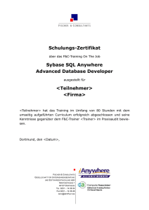 Schulungs-Zertifikat Sybase SQL Anywhere Advanced Database