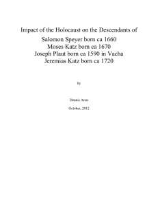 Impact of the Holocaust on the Descendants of Salomon