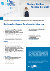 Business Intelligence Developer/Architect m/w