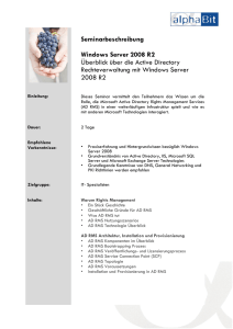 Seminarbeschreibung Windows Server 2008 R2