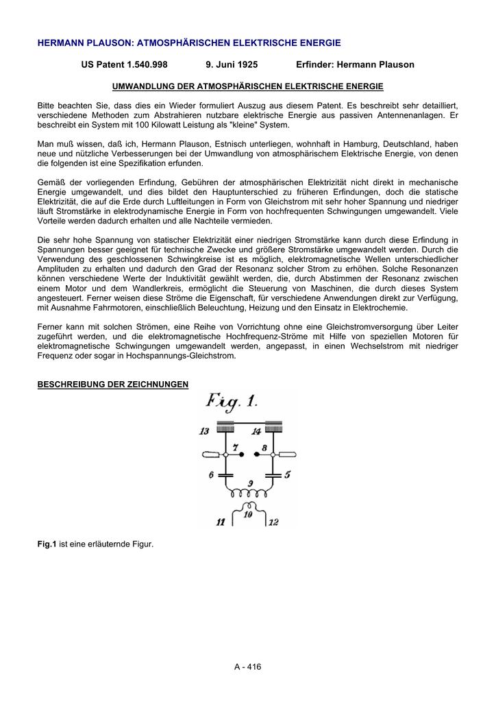 Hermann plauson: atmosphärischen elektrische - Free-Energy-Info
