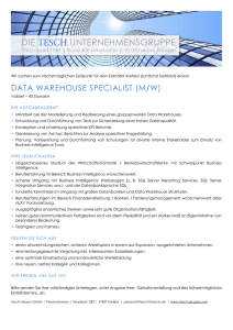 data warehouse specialist (m/w)