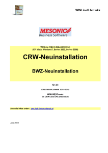CRW-Neuinstallation - CRW HAK International