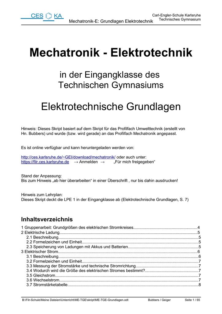 Mechatronik - Elektrotechnik - Carl-Engler-Schule