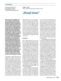 Visual Snow Syndrome