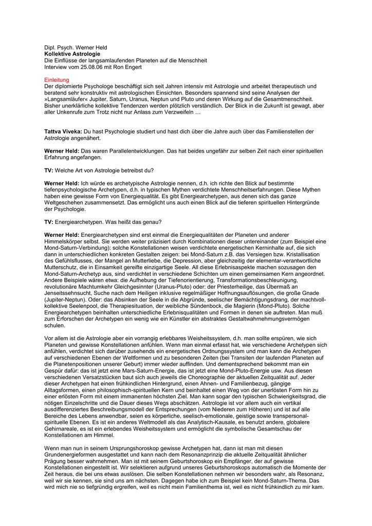 36fe50666b6a43 Dipl. Psych. Werner Held Kollektive Astrologie Die Einflüsse der