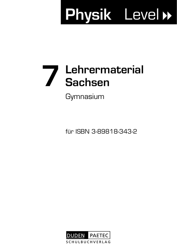 Lehrermaterial Physik 7 duden paetec