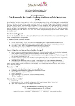 Praktikanten für den Bereich Business Intelligence/Data Warehouse