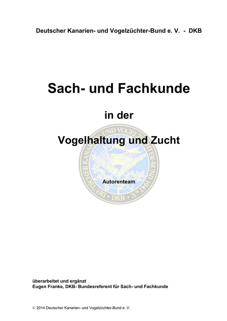 Sach- und Fachkunde - Deutscher Kanarien