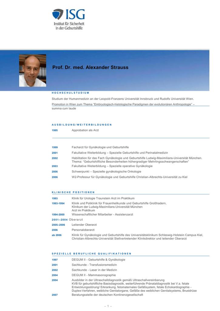 Prof. Dr. med. Alexander Strauss - Startseite