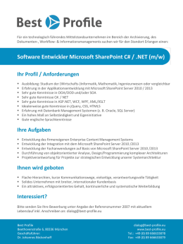 Software Entwickler Microsoft SharePoint C# / .NET (m - Best