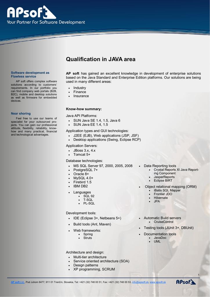 Qualification of AP soft Java team