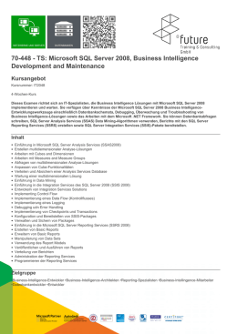 70-448 - TS: Microsoft SQL Server 2008, Business Intelligence
