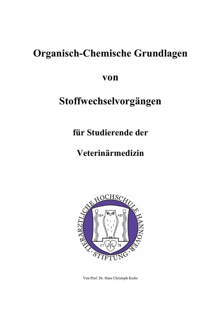 Organisch Chemische Grundlagen Von