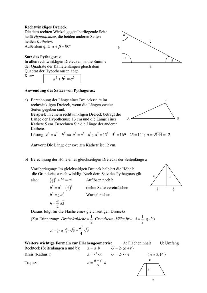 Berühmt Rechtwinkliger Dreiecke Arbeitsblatt Ideen - Mathe ...