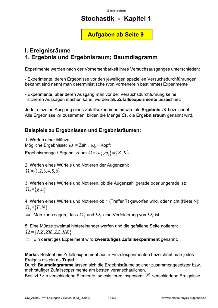 Stochastik - Kapitel 1 - Mathe-Physik