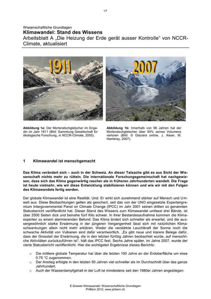 Arbeitsblatt A mit Lösung Klimawandel Stand des Wissens
