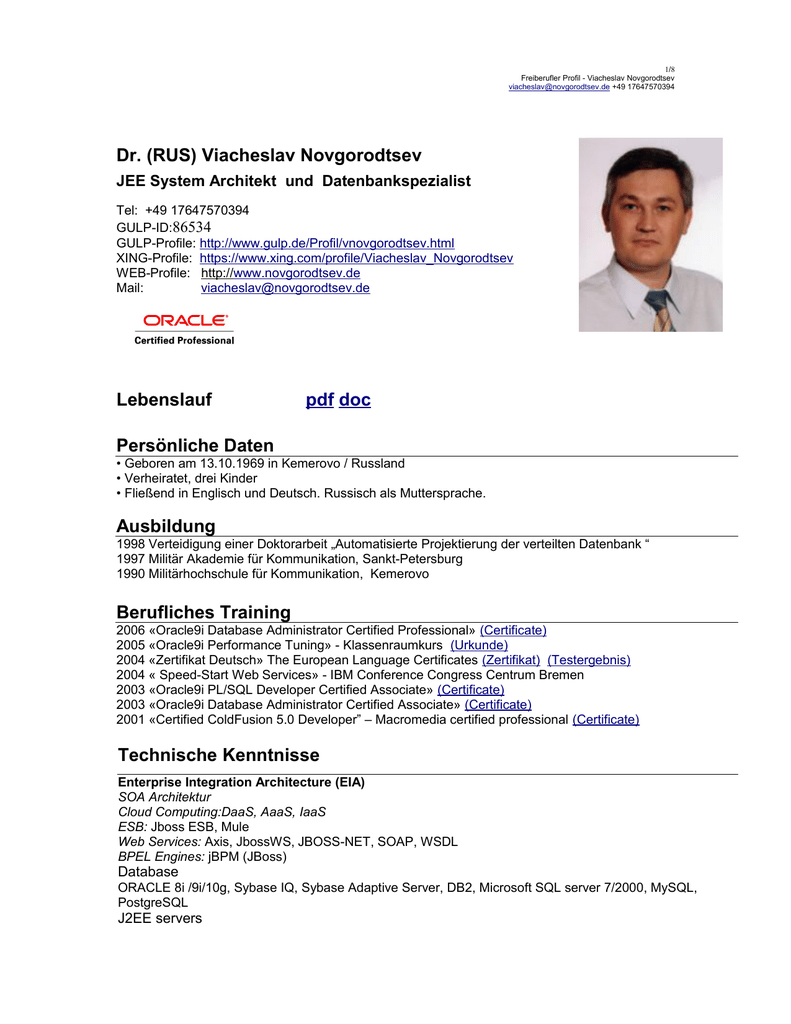 Viacheslav Novgorodtsev Lebenslauf pdf doc Persönliche Daten