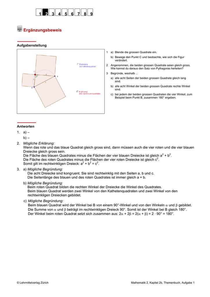 Unique Satz Des Pythagoras Arbeitsblatt Pdf Mit Antworten Model ...