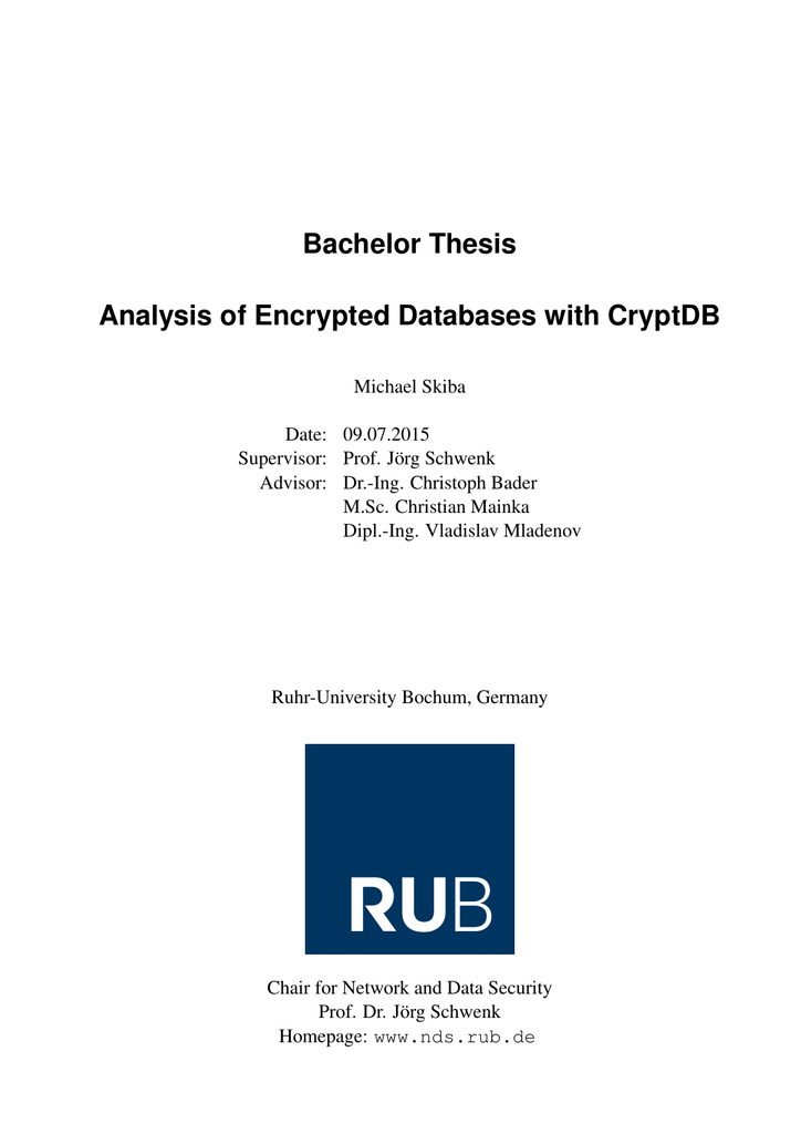 database encryption decryption algorithm thesis