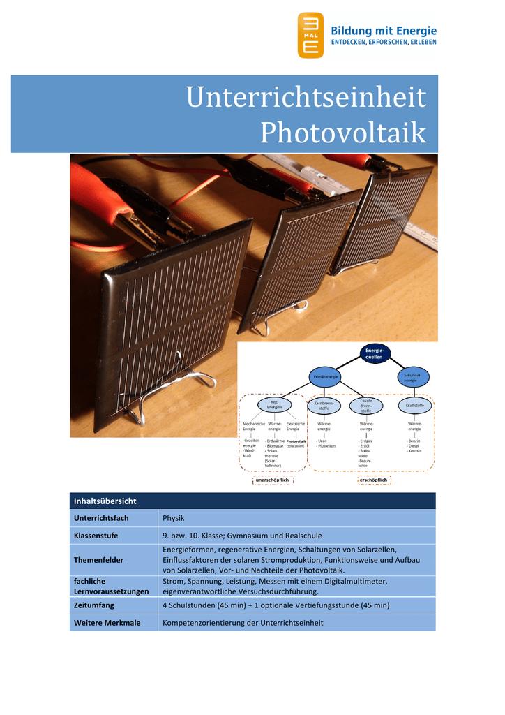 Unterrichtseinheit Photovoltaik