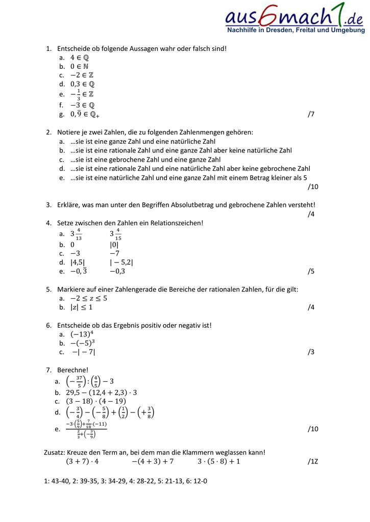 Übungsaufgaben zu rationalen Zahlen und Zahlenmengen