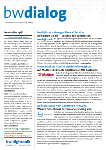 Newsletter 13/8 bw digitronik Managed Firewall Services