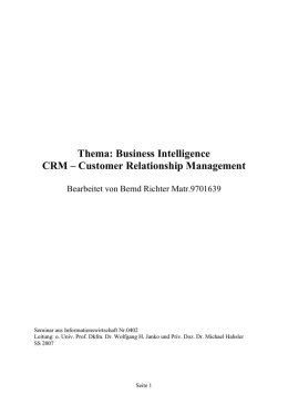 Thema: Business Intelligence CRM – Customer Relationship