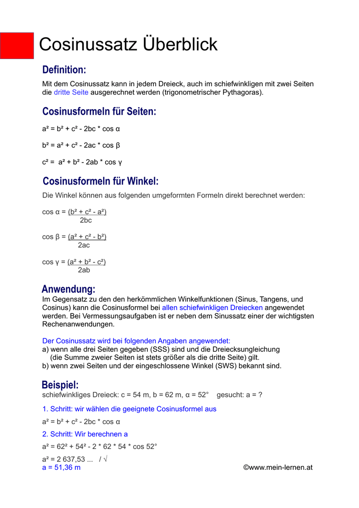 schiefwinkliges dreieck formeln