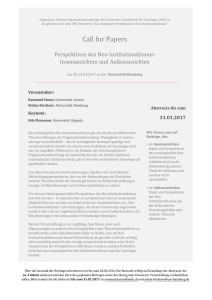 CfP Neo-Institutionalismus, Hamburg
