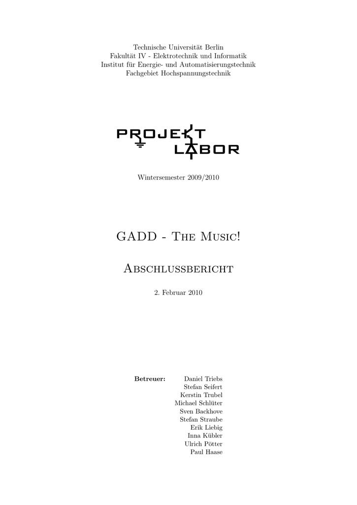 Abschlussbericht - Projektlabor