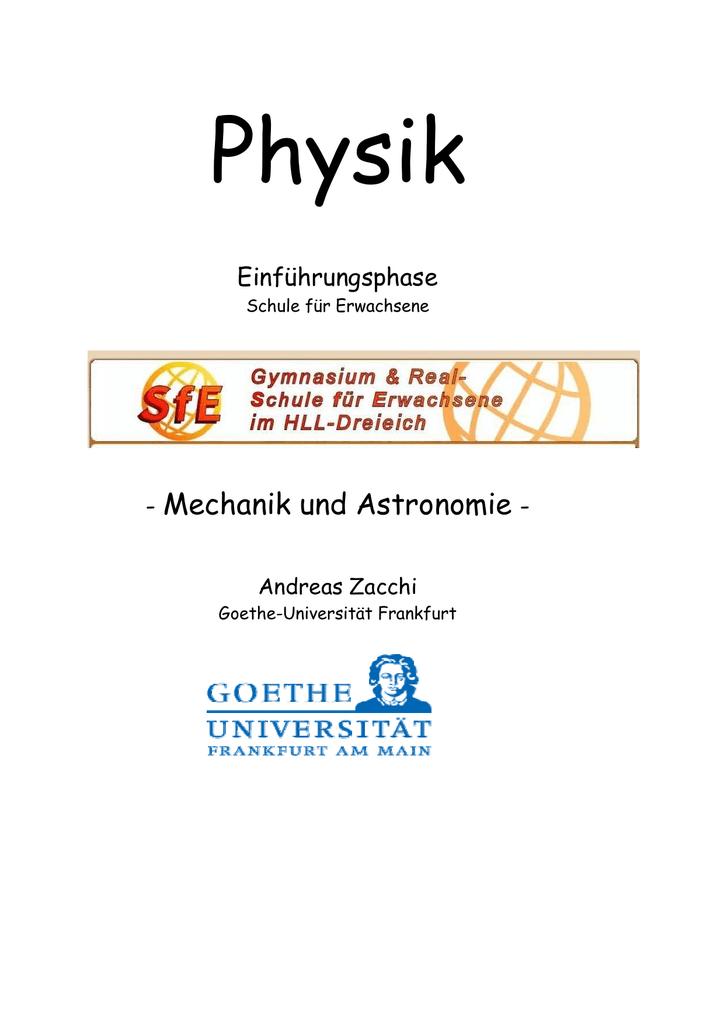 Mechanik und Astronomie - Goethe