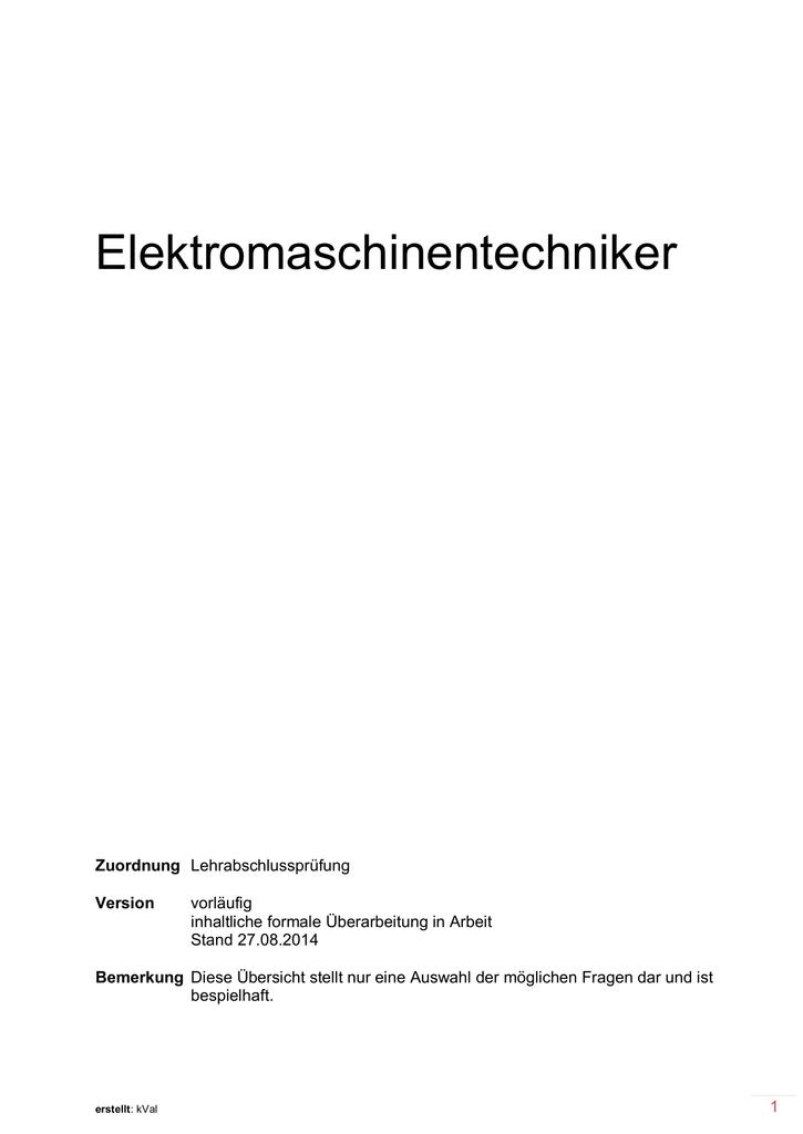Elektromaschinentechniker