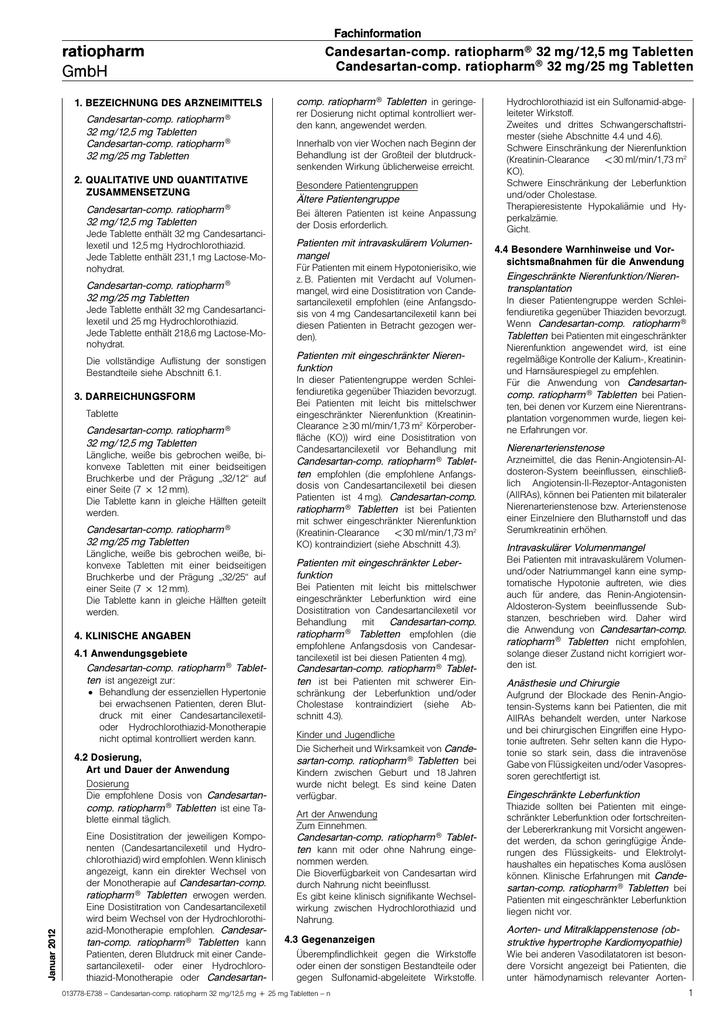 Candesartan-comp. ratiopharm® 32 mg/12,5 mg Tabletten