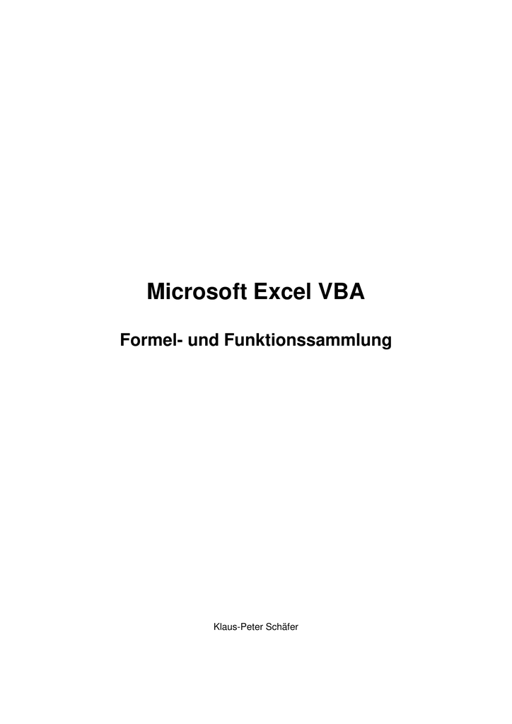 Microsoft Excel VBA - schaefer