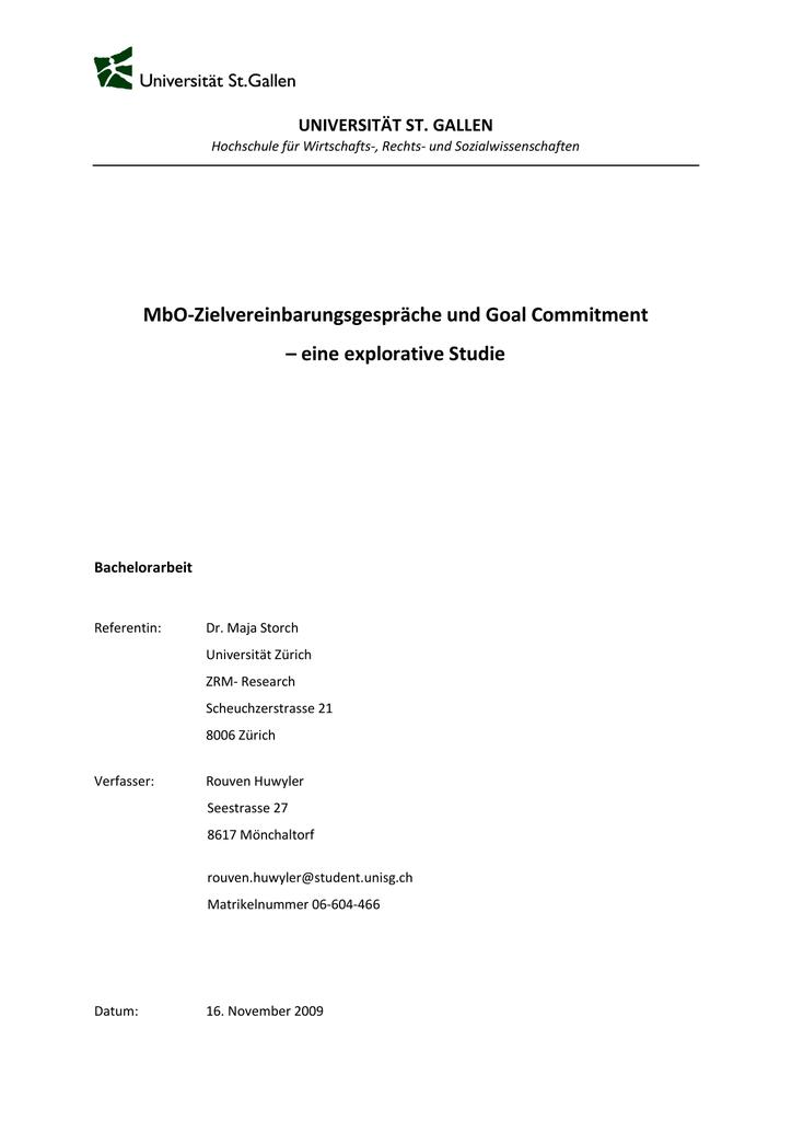 Mbo Zielvereinbarungsgespräche Und Goal Commitment
